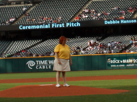 Debbie Hanson on mound at Progressive Field