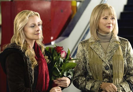 Jessica Caufiled and Shelly Long in the Hallmark Channel's Ice Dreams