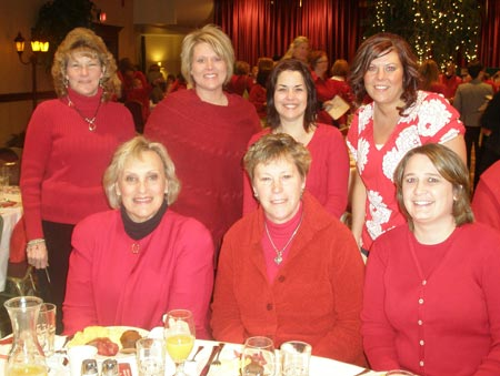 Marianne Dempster, Whitney Lloyd, Laurie  Duffner, Donna Miller, Amy Stadler, Clare Cameron and Tyan Clarke - all from Lake Hospital Systems Critical Care at 2009 Lake County Wear Red for Women Breakfast - photos by Debbie Hanson