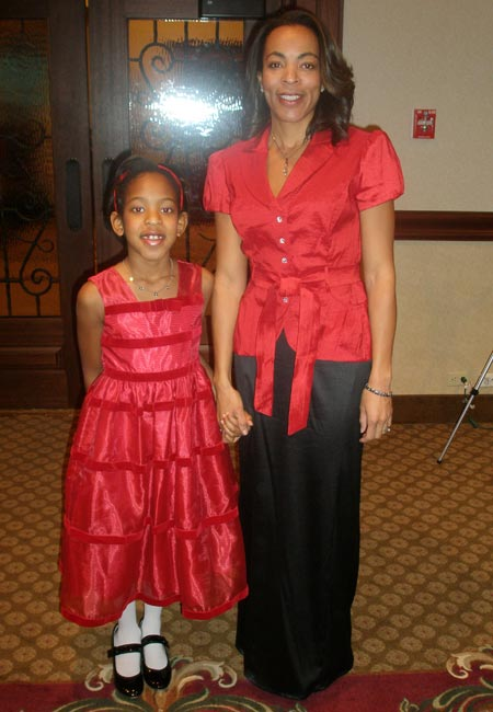 Show models Kelly (mom) and Grace (daughter) Buchanan at 2009 Lake County Wear Red for Women Breakfast - photos by Debbie Hanson