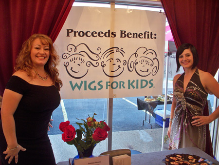 Mona Lisa and Dominique Moceanu at Mona Lisa Salon and Spa Grand Opening benefit for Wigs for Kids