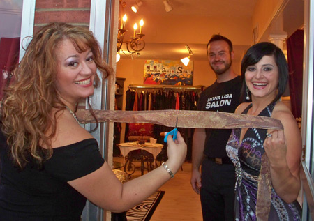 Ribbon cutting at Mona Lisa Salon and Spa with owner Mona Lisa and Olympic Gold medalist Dominique Moceanu