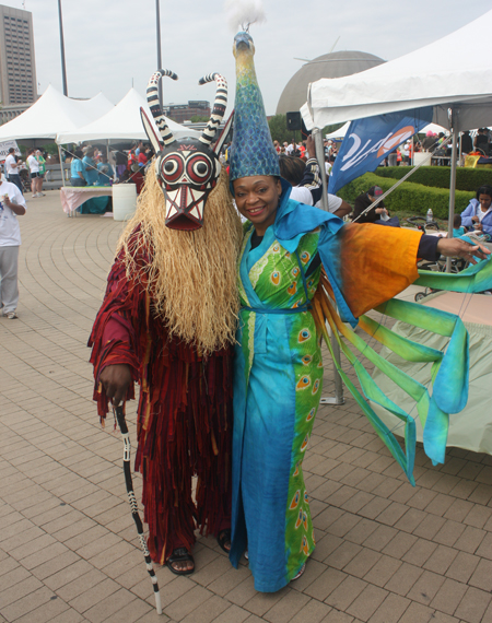 Cleveland Museum of Art costumes - Eric Clark as African Bush Buffalo and Thomasin Clark as Japanese Shinto Priestess