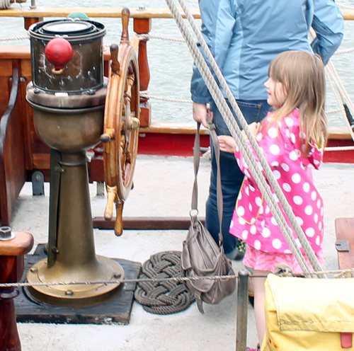 Little girl at wheel of Tall Ship in Cleveland
