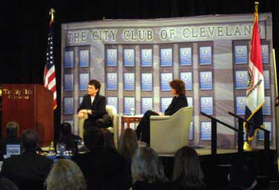 Billie Jean King and Christine Brennan at the City Club of Cleveland