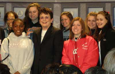Billie Jean King with students