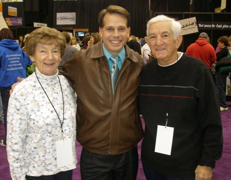 Fox 8 reporter Todd Meaney with Sue and Bob Partazana