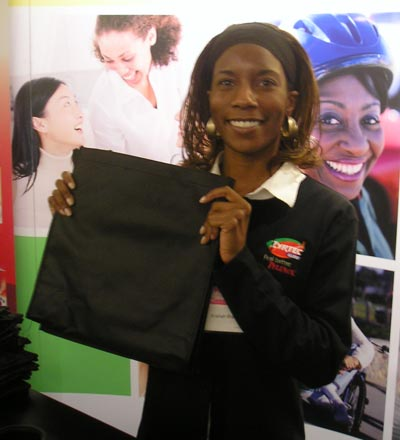 A'ishah Braxton  - with re-usable Go Green grocery bags