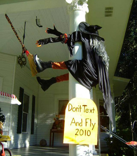 Witch crashes into house after texting while flying