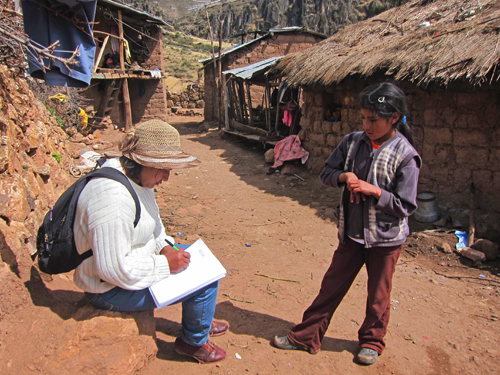 Katie Campbell-Morrison's my nurse Felly doing a census report in one of her annexos Pacca Alta