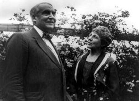 Warren and Florence Harding in their garden.