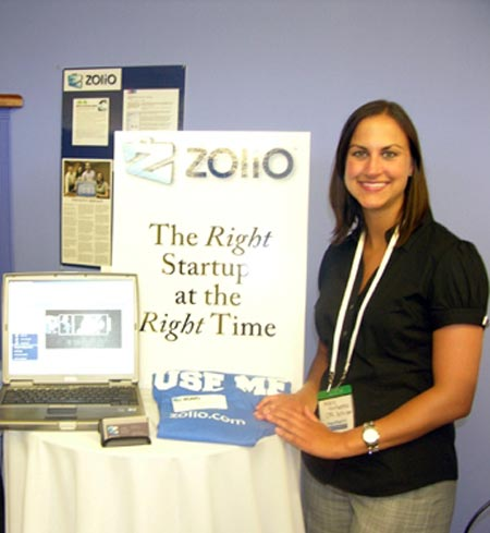 Andria Trivisonno at Zolio booth at Plug & Play Tech Center