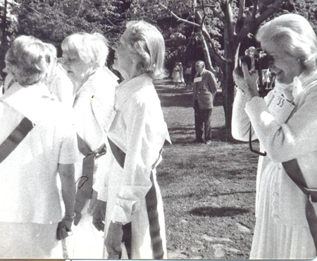 Ann Halle Little taking photographs at her 45th Reunion in 1980