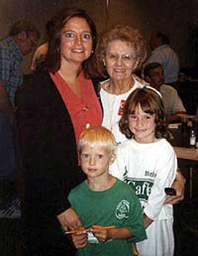 Bridget McCafferty with mother Naomi and a  niece and nephew