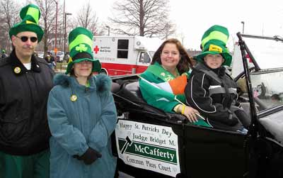 Judge Bridget McCafferty at St Patrick's Day Parade with her nephew and friends Linda and Paul Avallone
