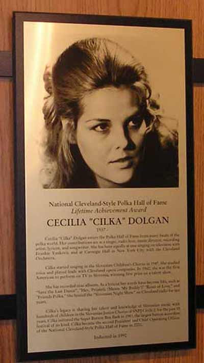 Cecilia Dolgan Polka Hall of Fame Plaque