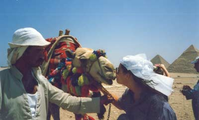 Danille Serino in Egypt getting close with a camel