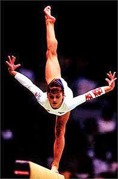 Gymnast Dominique Moceanu on the balance beam