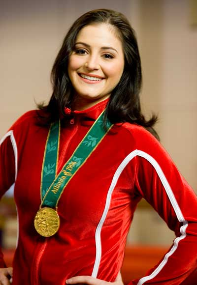 Gymnast Dominique Moceanu with gold medal from Atlanta 1996 Olympics