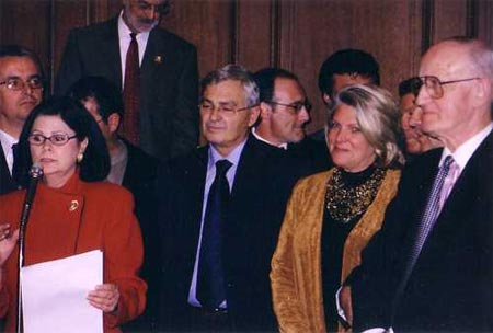 Cleveland Councilwoman Dona Brady, Albanian President Medjani, Mayor Jane Campbell and Peter C. Kole - November 2004