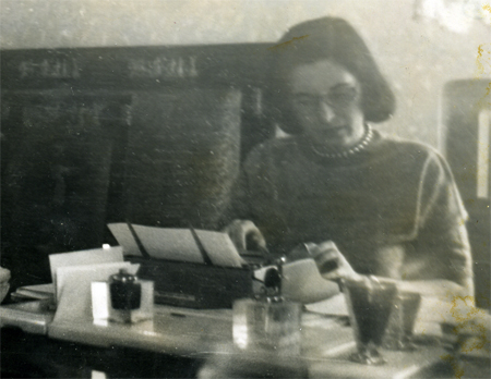 Doris O'Donnell working in a Moscow hotel room
