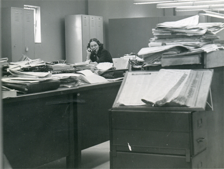 Doris O'Donnell working in the City Room