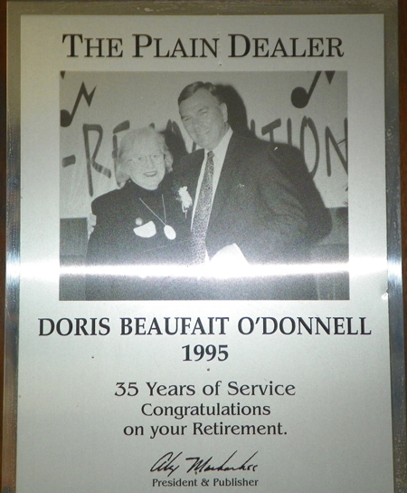 Doris O'Donnell and Alex Machaskee - Plain Dealer award
