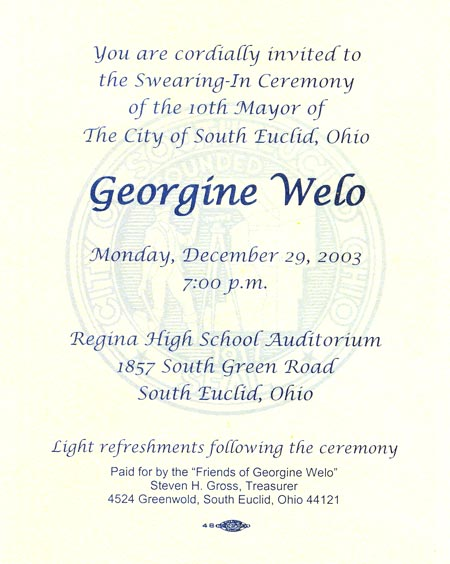 Invitation to South Euclid Mayor Georgine Welo innauguration