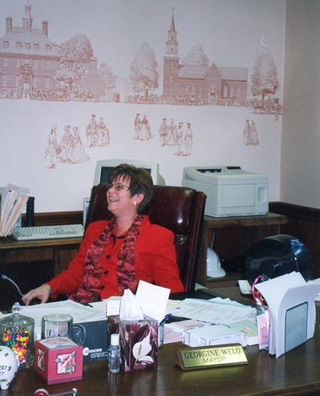 South Euclid Mayor Georgine Welo in her office