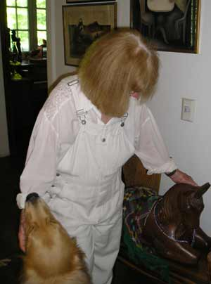 Helga Sandburg with her Golden Retriever Mickey