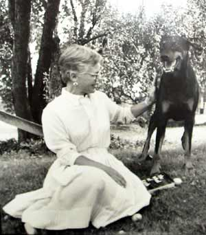 Helga Sandburg with dog