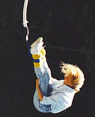Jan Jones bungee jumping in 1987