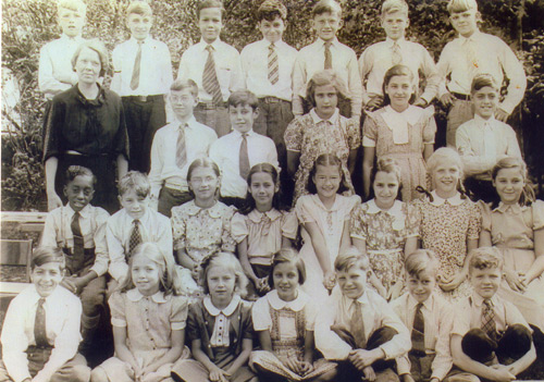Jenny Gecsy (Brown) at Harvey Rice Elelmentary School in Cleveland in 1939