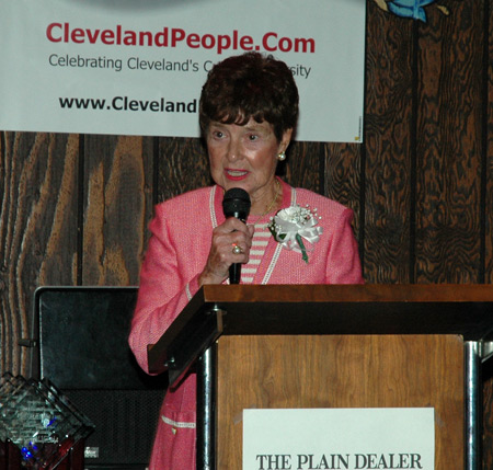 Jenny Brown speaking at the Cleveland International Hall of Fame inductions