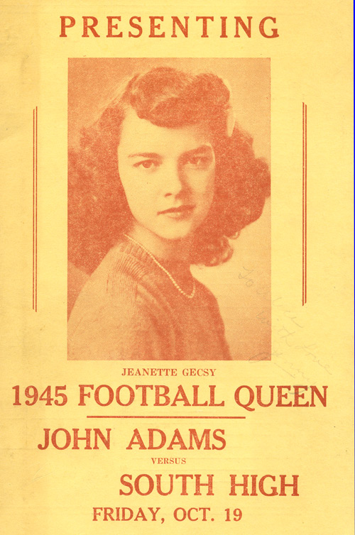 Jenny Brown Football Queen at John Adams High School in 1945