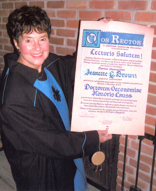 Jenny Brown with degree from the University of Pecs in Hungary in 2002