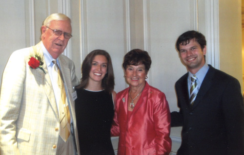 Glenn and Jenny Brown at the 2010 Ohio University Foundation WIP Award with Cutler Scholars Emily Grannis and Will Wemer