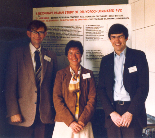 Jenny Brown at a Spectroscopy Conference in the UK in the 1970's with Dan Gerrard of BP and Terry Gustafson of Sohio
