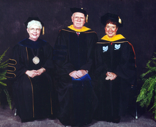 Carol Cartwright with Glenn and Jenny Brown at Kent State University in 2000