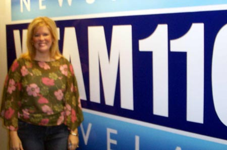Kim Mihalik at WTAM 1100 studios (Photos by Debbie Hanson)