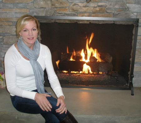 Lissa Bockrath Shapiro at home fireplace