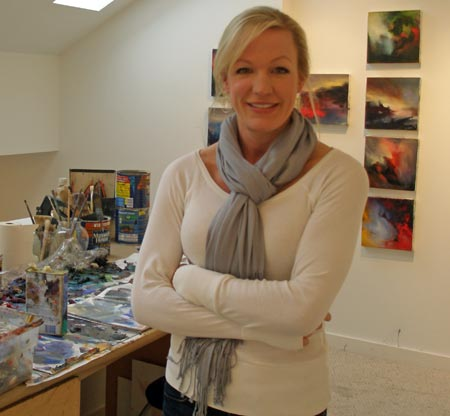Lissa Bockrath Shapiro with paints at home
