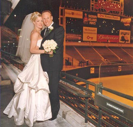 Lissa Bockrath and Mark Shapiro wedding photo at Jacobs Field