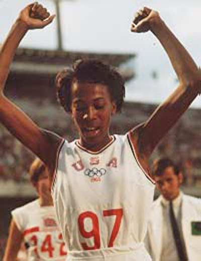 Madeline Manning Mims winning the Olympic Gold Medal in Mexico City in 1968