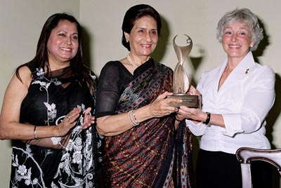 Rita N. Singh with Bakul Rajni Patel and Martha Mertz - Athena Award in India