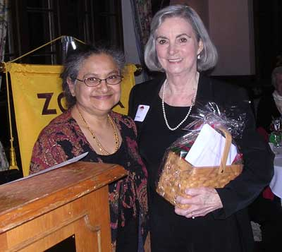 Sarojini Rao honoring a Zonta Member at the Holiday Party