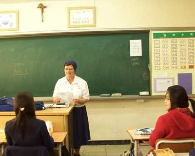 Sister Ann Patrick teaching in Korea