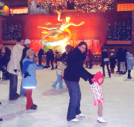 Tonia and Maddy Kwiatkowski skate at Rockefeller Center in  2009